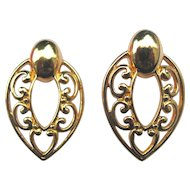 Vintage Large Filigree Heart Clip Earrings