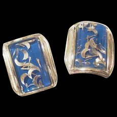 Vintage Blue Lucite with Foil Confetti Earrings