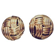 Crown Trifari Domed Basketweave Clip Earrings