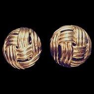 Crown Trifari Domed Basketweave Clip Earrings