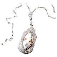 Circa 1920s 14K WG Habile Shell Cameo w/ Diamond Filigree Necklace