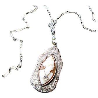Circa 1920s 14K WG Habile Shell Cameo w/ Diamond Filigree Necklace