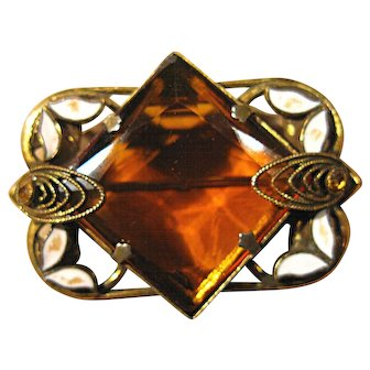 Topaz Colored Glass and Enameled Brass Brooch
