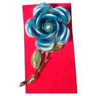 BIG Vintage Blue Enameled Rose Brooch