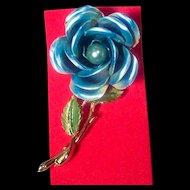 BIG Vintage Blue Enameled Rose Brooch