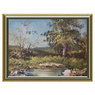 Small Miniature Oil Landscape Paint c 1980s