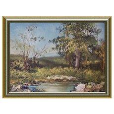 Small Miniature Oil Landscape Paint c 1980s