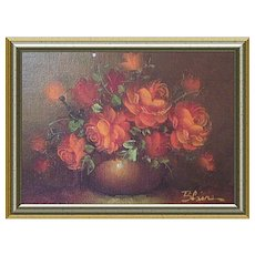 Miniature Floral Oil Painting by Blaine 1980s