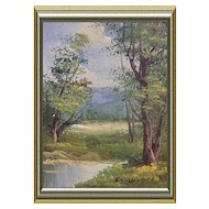 Miniature Oil Painting Summer Landscape Signed 1980s