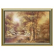 Small Miniature Oil Paintling Golden Landscape
