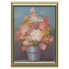 C Nichols Small Miniature Floral Oil Painting Signed 1980s