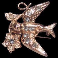 Coro Rhinestone Swallow Pin Brooch with Flower Adolph Katz