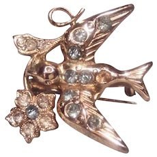 Coro Rhinestone Swallow Pin Brooch with Flower Adolph Katz
