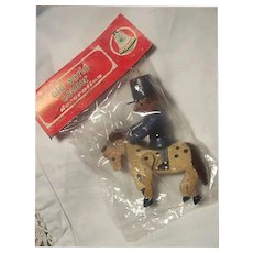 1960s Commodore Wooden Soldier and Horse Christmas Ornament