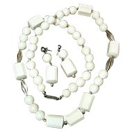 Chunky White Plastic Necklace and Earrings