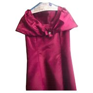 1970s Burgundy Princess Style Gown and Shoulder Wrap