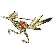 Rhinestone Roadrunner Pin Brooch