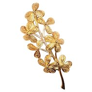 Vintage Monet Floral Stem Brooch