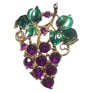 Vintage Glass Enamel Rhinestone Grapes and Leaves Pin