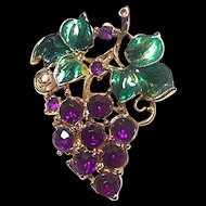 Vintage Glass Enamel Rhinestone Grapes and Leaves Pin