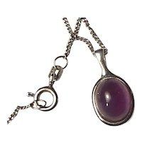 Elegant Genuine Amethyst Sterling Pendant Necklace