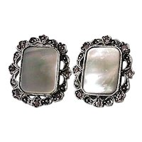 1928 Jewelry Company Earrings Grey Mother of Pearl and Rhinestone