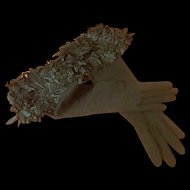 Long Vintage Stretch Gloves Removable Detachable Flower Cuff