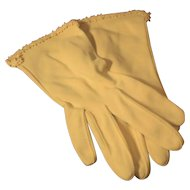 Vintage Yellow Stretch Gloves with Daisy Trim