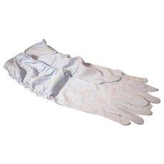 Vintage Blue Mid-Length Nylon Shirred Gloves