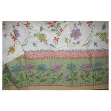 Vintage 56x80 Pastel Flower Garden Tablecloth