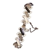 Bracelet Sterling Silver, Mother of Pearl, Onyx and Marcasite