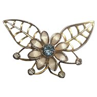 Large Vintage Retro  Flower and Leaves Pin Brooch