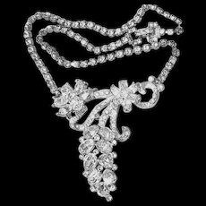 Vintage Rhinestone Grape Cluster and Flower Necklace