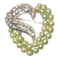 Green Imitation Pearl and Rhinestone Heart Brooch
