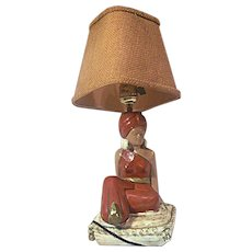 Vintage Plaster Ceramic Figural Lamp Harem Girl