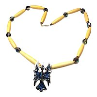 1970s Inlaid Thunderbird Necklace Beads AB Rhinestones