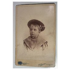 Cabinet Card Photograph Precious Boy in Hat by Bowman