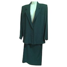 Vintage Austin Hill Green Wool Suit Jacket Skirt Sizes 10 and 12