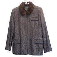 1980s Vintage Ralph Lauren Herringbone Wool Tweed Jacket Faux Fur Collar