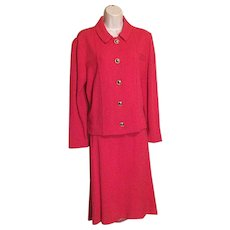 Vintage 1980s Castleberry Hot Pink Skirt Suit Sz 10