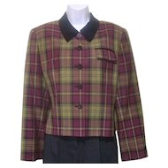 Vintage 1980s Kasper for ASL Jacket Sz 12 Tartan Wine and Olive Green Plaid