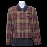 Vintage 1980s Kasper for ASL Jacket Sz 12 Tartan Wine and Olive Green Plaid