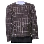 1980s Jones New York Nubby Grey White Checkered Jacket Size 10