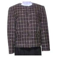 1980s Jones New York Nubby Grey White Checkered Jacket Size 10
