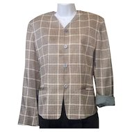 1980s Vintage Anne Klein II Silk Jacket Brown Tan Cream Sz 8
