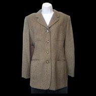 Vintage 1980s Jones New York Lightweight Brown Grey Gold Wool Jacket Sz 10