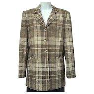Vintage 1980s Jones New York Jacket Umber Brown and Tan Plaid Wool Fully Lined Sz 10