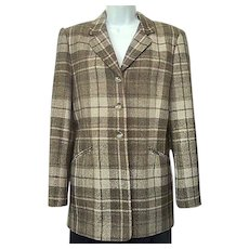 Vintage 1980s Jones New York Jacket Umber Brown and Tan Plaid Wool Fully Lined Sz 10