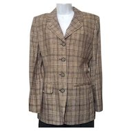 Vintage 1980s Jones New York Brown and Tan Plain Jacket Sz 10