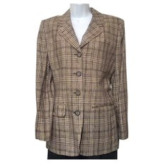 Vintage 1980s Jones New York Brown and Tan Plain Jacket Sz 10